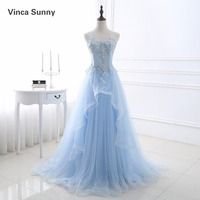 Vinca Sunny Light Blue Prom Dresses Tulle Formal Dress Women Vestidos De Formatura Party Gowns Sleeveless