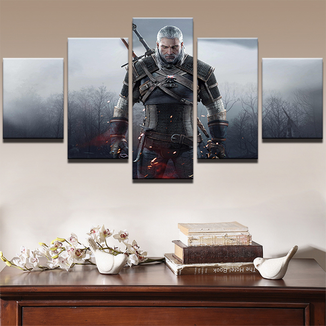 Modern Wall Art Painting Print Picture Frame Living Room Home Decor 5 Panel  Movie Game Witcher