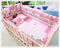 Promotion! 6pcs Pink baby cotton bedding set in a cot bumper ,include (bumpers+sheet+pillow cover)
