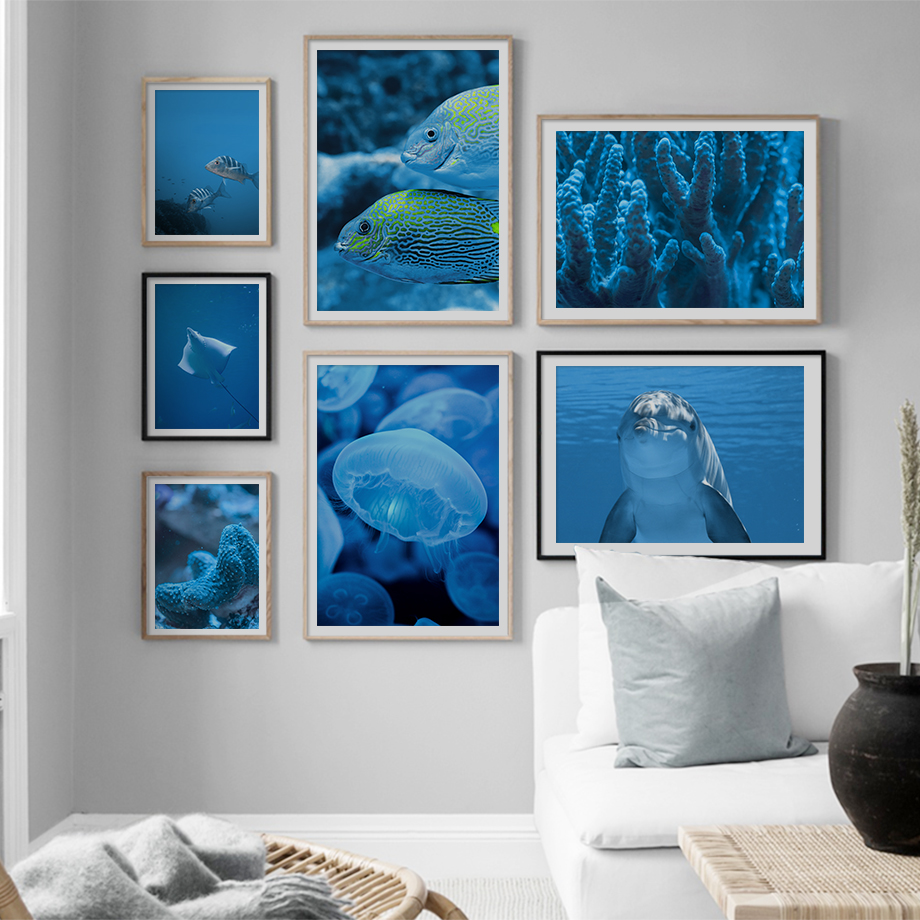 Starfish Dolphin Seascape Nordic Poster And Print Wall Art Canvas Painting Wall Pictures For Living Room Scandinavian Home Decor in Painting Calligraphy from Home Garden