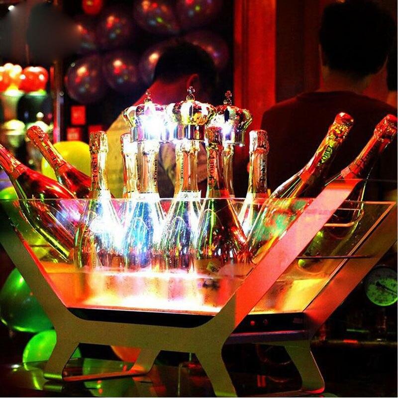 LED Seau À GLACE en acier cadre acrylique seau peut contenir plus que 20 bouteilles de bière Lumineux Porte-Bouteille De Vin En Forme de Bateau Bar accessoires