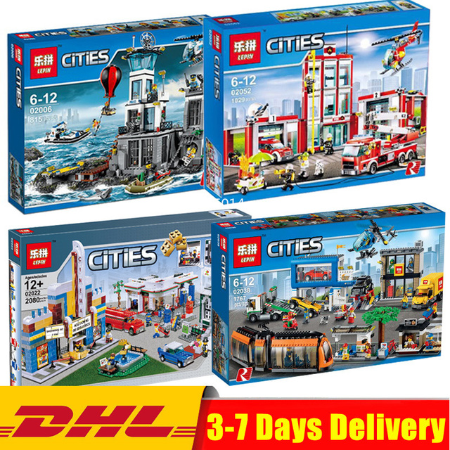 DHL Wowpa 02052 02006 02022 02038 City The Fire Station Set Genuine LegoINGly  60110 Building Blocks Brick Action Toys Gifts