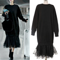 2017 New Solid Color O Neck Cotton Long Dress Trumpet Dress Long Sleeve Mesh Splicing Dress