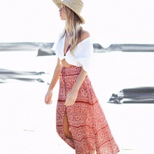 Bohemian Womens Sexy Print Skirt Beach Split Skirt Beach Wear Vacation Summer Womens Skirt