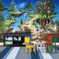Photo Wallpaper 3D Stereo Cartoon Fairy Tale Castle Mural Kid's Bedroom Living Room Amusement Park Backdrop Wall Painting Fresco
