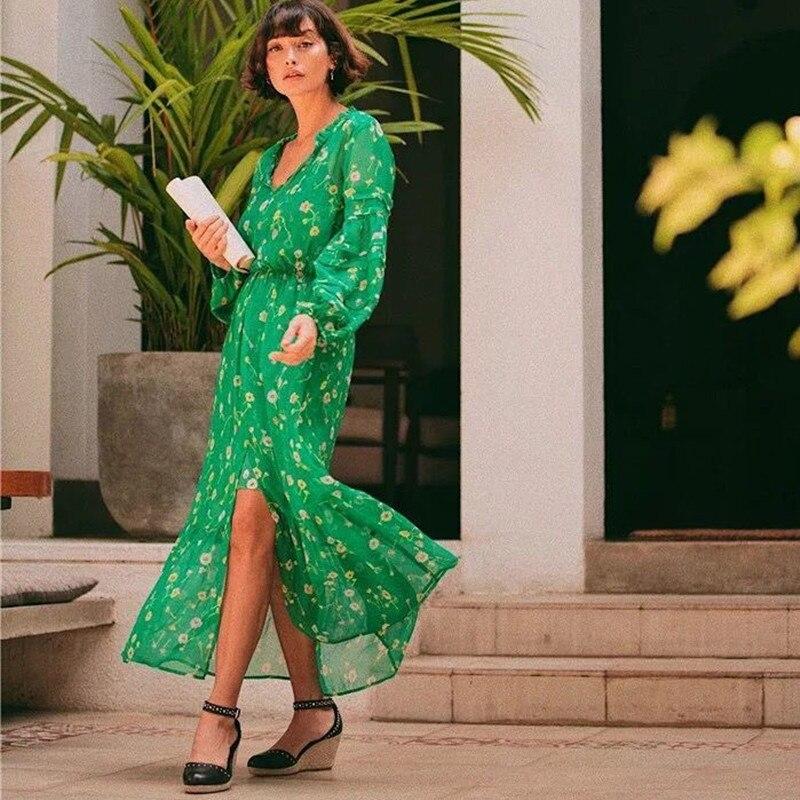 Kadın Giyim'ten Elbiseler'de Kadın Ipek Yeşil uzun elbise Uzun Kollu Boncuk Çiçek Baskı Bölünmüş Maxi Elbise ve Iç Kayma Elbise Set'da  Grup 1