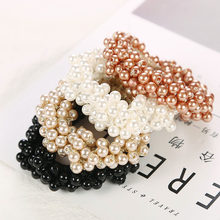 1 PC Women Hair Accessories Full Pearls Beads Girls Ponytail Holder Girls Scrunchies Elastic Hair Bands Rubber Rope Headdress(China)