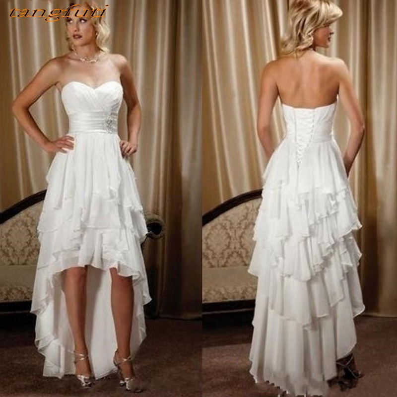 Hi-Lo Chiffon Wedding Dresses Cheap Beaded Sash Sweetheart Country Western Wedding Dress Bridal Gown vestidos de noiva 2019