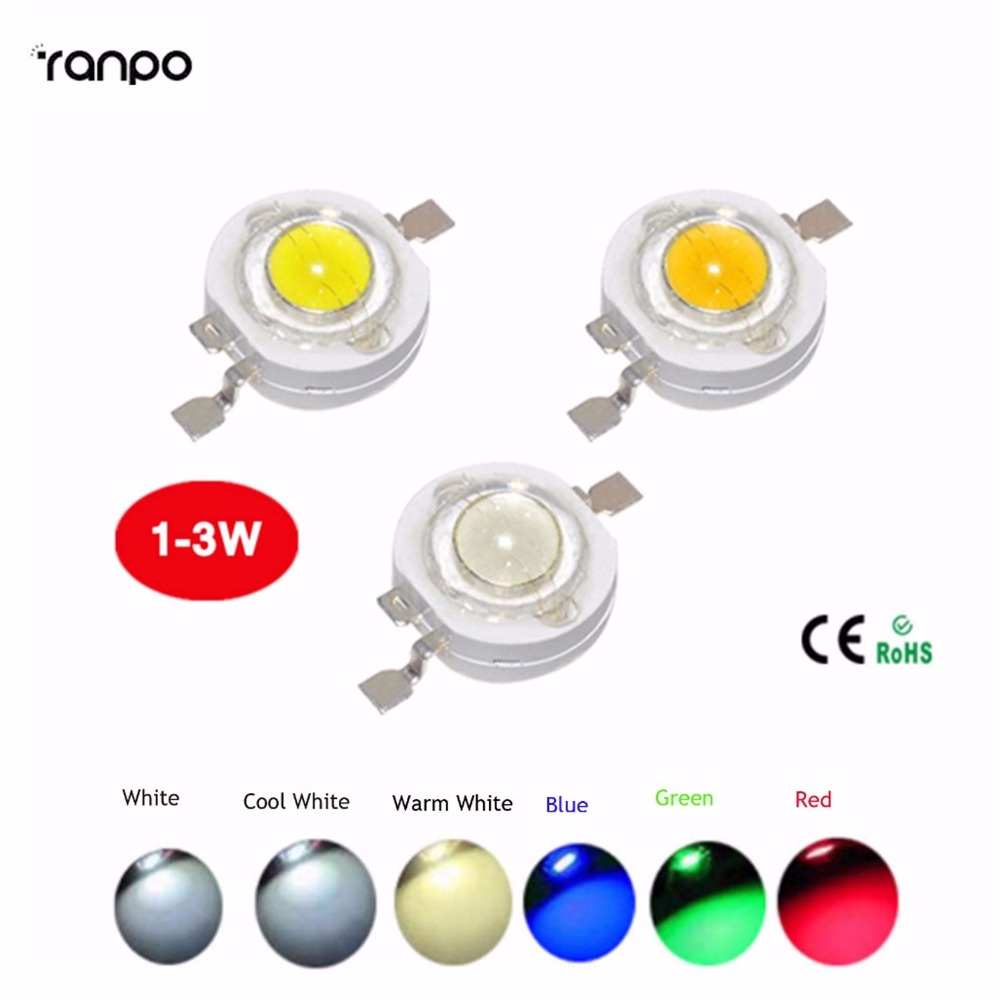 High Power 20PCS/Lot 1W/3W Led Chips Bulb Diode Lamp Warm white / Cool / Red /Blue / Yellow/Green for LED Spotlight