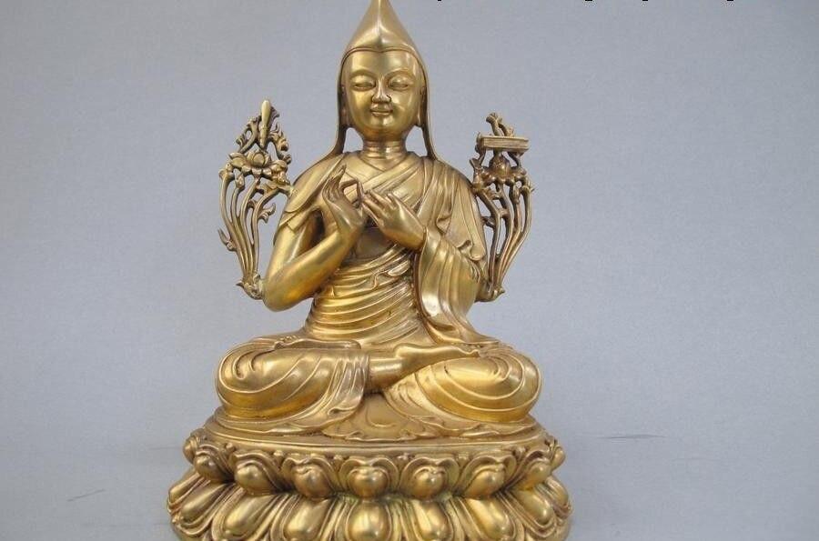 Tibet Buddhism 100% Pure Bronze 24K Gold Tsong-kha-pa Tsongkhapa Buddha StatueTibet Buddhism 100% Pure Bronze 24K Gold Tsong-kha-pa Tsongkhapa Buddha Statue