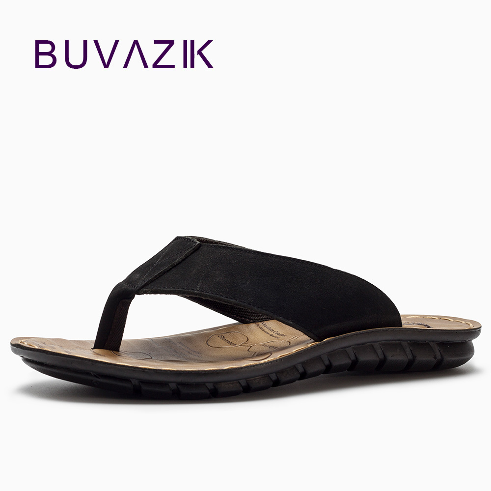 BUVAZIK 2018 Summer Beach Slippers High Quality Genuine Leather Men - Men's Shoes