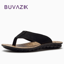 BUVAZIK 2018 Sommar Strand Tofflor Högkvalitativa Äkta Läder Män Slippers Flip Flops Män Slides Fashion Casual Flip Flop