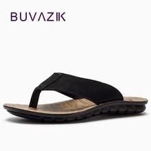BUVAZIK 2018 Musim Panas Pantai Sandal Kualitas Tinggi Kulit Asli Pria Sandal Sandal Jepit Pria Slides Mode Kasual Flip Flop