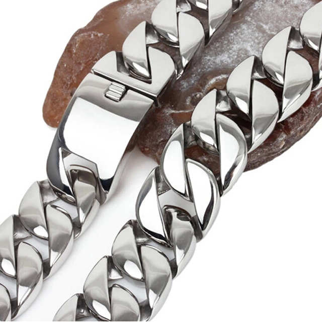 "HEAVY 28"" 31mm 980g Biker Mens Chain Boys Silver Tone Curb Link 316L Stainless Steel Necklace Wholesale Fashion Jewelry Gift"