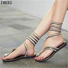 1578467700df15 plus size 41 2017 new fashion women sandals woman rhinestone Gladiator  Sandal shoes Snake Flat with