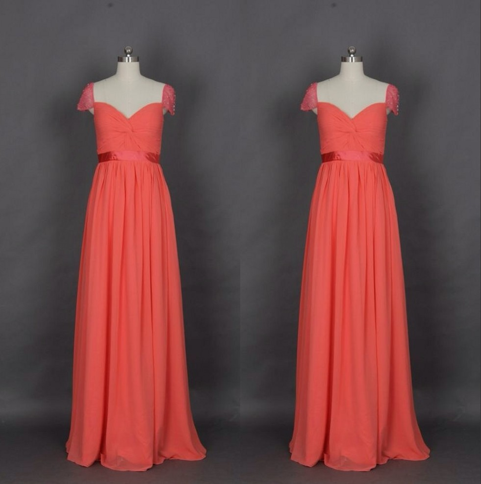 Cap sleeves crystal chiffon bridesmaid gown redgraypeachivory cap sleeves crystal chiffon bridesmaid gown redgray peachivorychampagnesilveryellowhunterpink chiffon bridesmaid dresses in bridesmaid dresses from ombrellifo Image collections