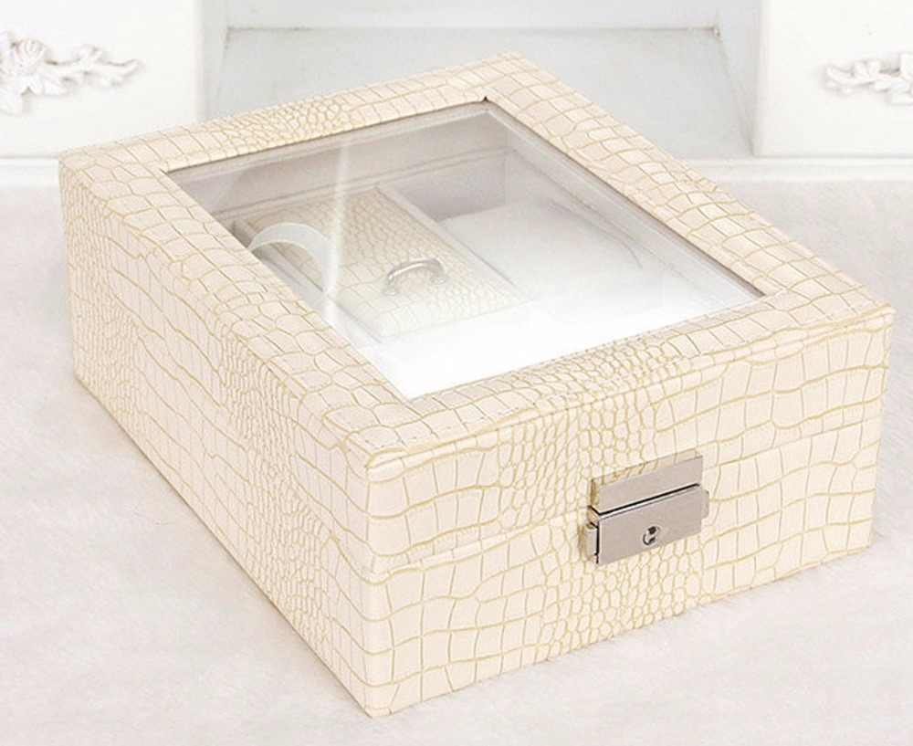 Luxury Watch Storage Box Brown White Leather Watch Collection Case 6 Grids Organizer Box Holder Jewelry Watch Display for Seller