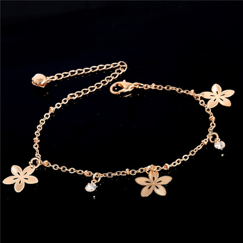 SHUANGR Sexy złote bransoletki plażowe na kostkę Hollow Sakura Crystal bransoletka na kostkę biżuteria na stopy dla kobiet kwiat bransoletka na kostkę na nodze tanie i dobre opinie Ze stopu cynku Kryształ 24cm Kobiety Klasyczny PLANT TH2701-TH2703