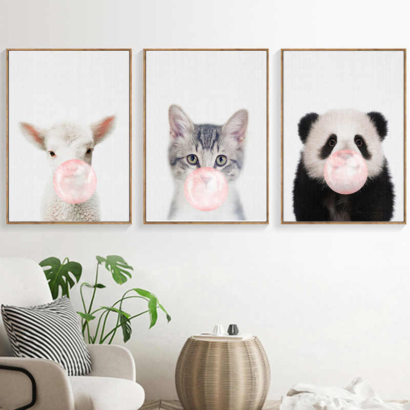 Panda Sheep Cat Blowing bubbles Wall Art Canvas Painting Nordic Posters And Prints Wall Pictures For Living Room Art Print Decor