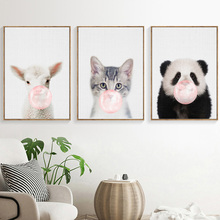цена Panda Sheep Cat Blowing bubbles Wall Art Canvas Painting Nordic Posters And Prints Wall Pictures For Living Room Art Print Decor онлайн в 2017 году