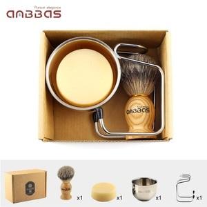 Image 5 - 4 шт., щетка для бритья Anbbas Pure Badger, подставка для бритья из нержавеющей стали и двухслойная чаша для бритья и набор мыла для бритья из козьего молока