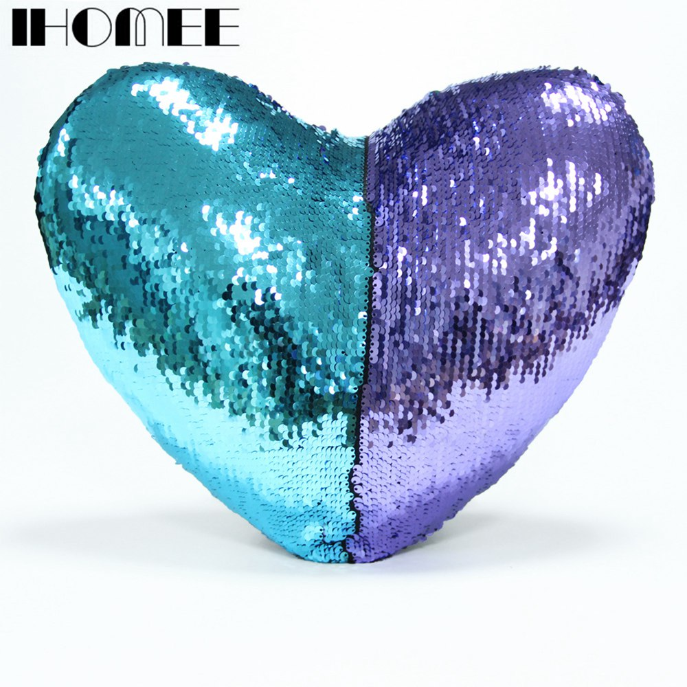 IHOMEE Shiny Mermaid Sequins Cushion Cover Reversible Color Changing Throw Pillow Case Cover Decorative Cushion Covers For Sofa