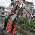 Latex cosplay uniforme do exército das mulheres com cinto feito à mão