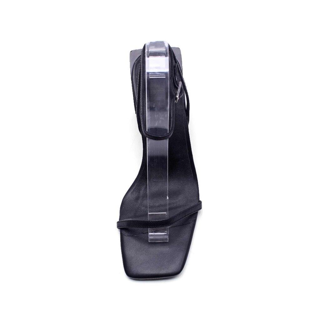 Il Pelle Sandali La8 Nero brown Quadrato Donne Scarpe Tacchi Modello Alti Pieno Pentola Toe Marrone Krazing Colore Delle Modo Nero Sfilata In Di Peep Fiore BgwqEf01x