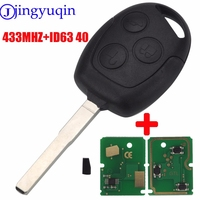 Jingyuqin Remote Key 3 Buttons 315 433MHz With Chip ID63 40D For Ford Focus Fiesta Mondeo