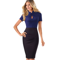 Elegant Work Office Business Drapped Contrasting Bodycon Slim Pencil Lady Dress Women Sexy Front Key Hole