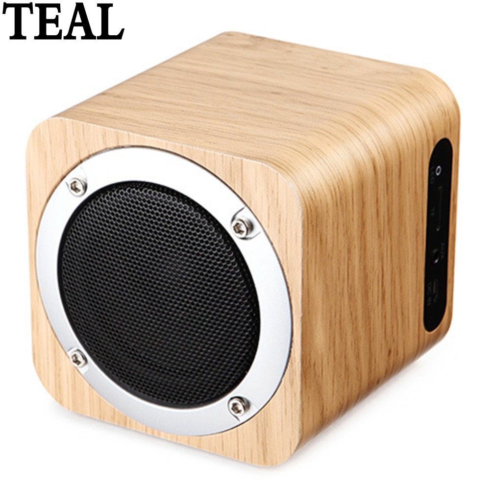 Teal Outdoor Sport Dřevěný bezdrátový Bluetooth reproduktor Smart Mini Hand-free přenosný reproduktor s basovou stereofonní ozvěnou pro telefon PC