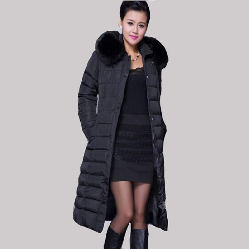 Cotton Padded Women's Winter Jacket 5XL Plus Size Luxury Fur Collar Hooded Jackets Long Wadded Coat Warm Parkas JA277 winter jacket female parkas hooded fur collar long down cotton jacket thicken warm cotton padded women coat plus size 3xl k450