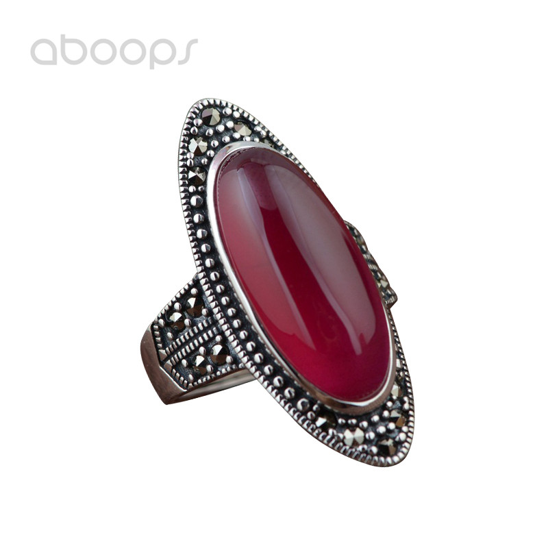 все цены на Vintage Long 925 Sterling Silver Oval Stone Ring with Marcasite for Women Girls Adjustable Free Shipping
