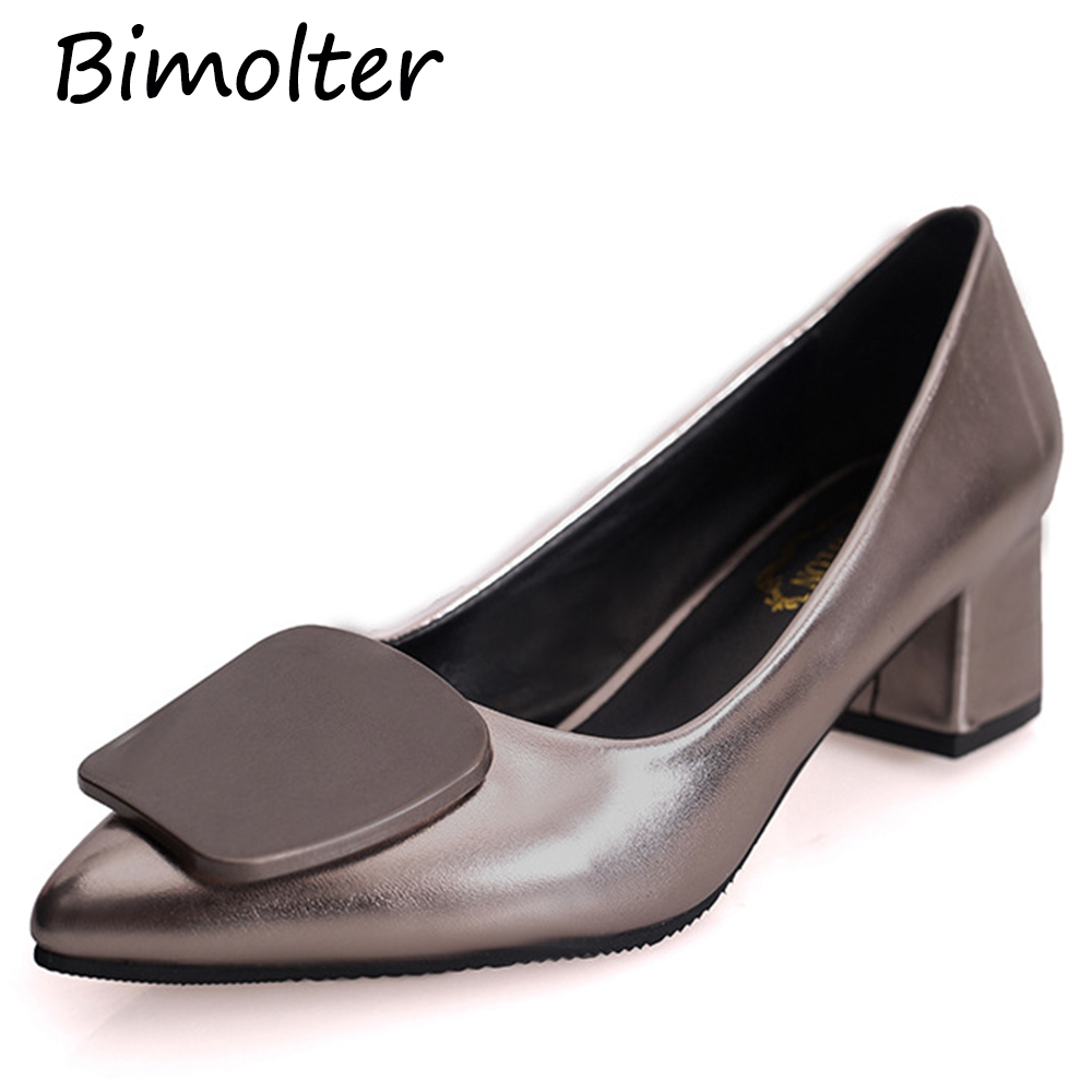 04085cb69b3 Bimolter 2018 New Fashion Women Shoes Pointed Toe Thick High Heels Luxury  Shoes Woman Wedding Party Pumps Office Shoes PCEB017