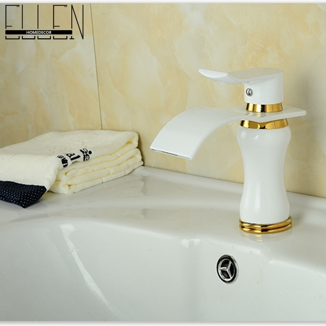 Modern Style White Basin Faucet Soild Brass White Painted Bathroom Faucets Si