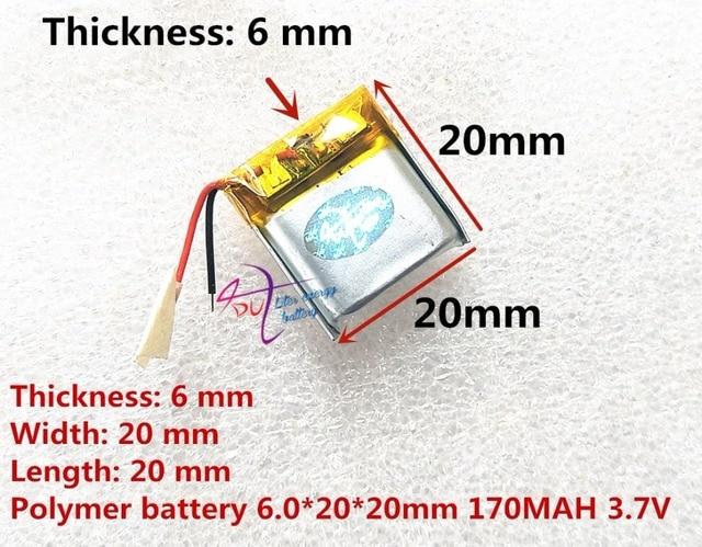 أفضل بطارية ماركة 062020 602020 170MAH 3.7V عالية السعة بطارية ليثيوم بوليمر سمّاعات بلوتوث لعب