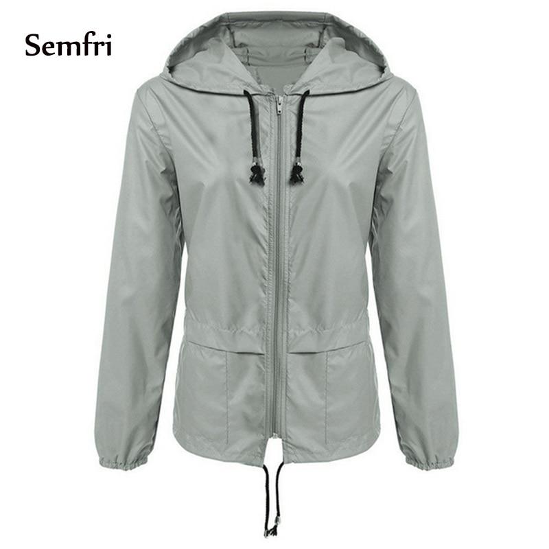 Semfri Sport Jacket Women Waterproof Lightweight Base Coat Hiking Outwear Hooded Windbreaker 2019 Quick Dry Summer Autumn Jacket