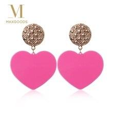 2018 Fashion Pink Heart Earrings For Women Vintage Geometric Statement Drop Boho Ethinc Jewelry