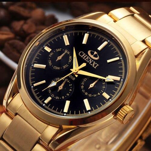 Prix pour 2017 chenxi or quartz montre hommes top marque de luxe montres hommes d'or montre-bracelet homme horloge à quartz-montre relogio masculino