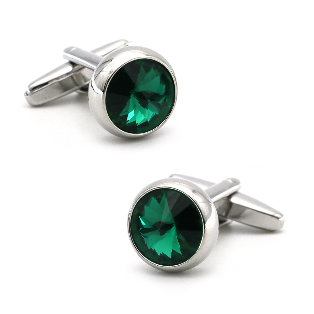 Men's Luxury Crystal Cufflinks Green Color Stone Top Quality Wedding Cuff Links Free Shipping