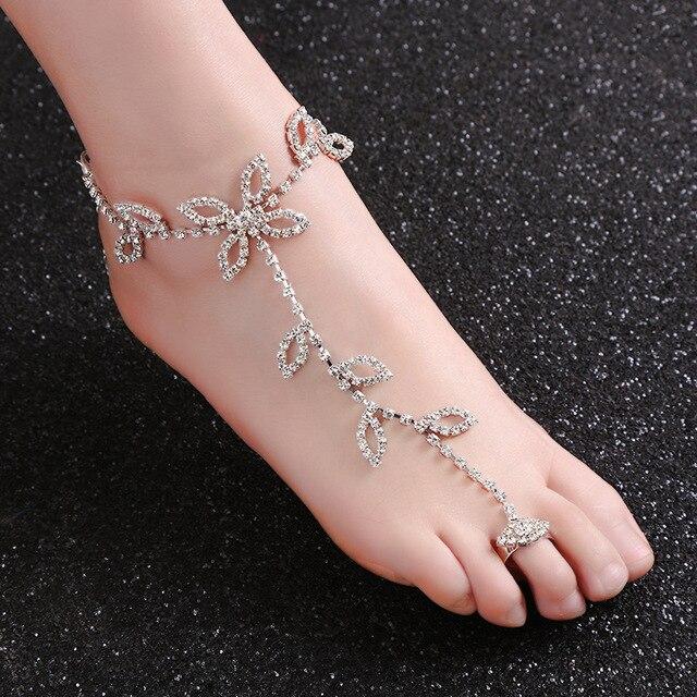 43e0b925b4bb0 one piece Luxury Ankle Bracelet Wedding Barefoot Sandals Beach Foot Jewelry  Sexy Pie Leg Chain Rhinestone