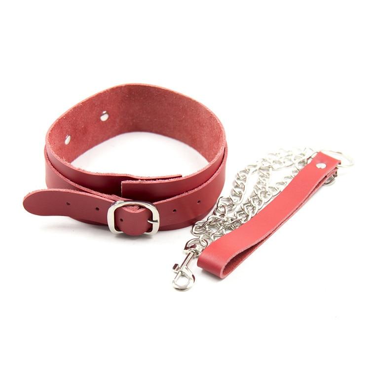 Buy Red Genuine Leather bondage harness slave collar adult sex toys bdsm fetish dog neck collars chain leash restraints tools