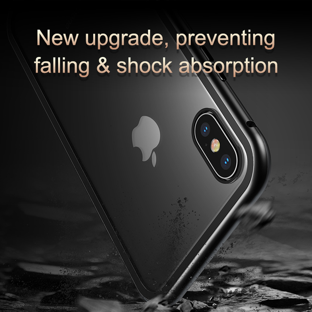 Baseus iPhone XS XS Max Luxury Magnetic Adsorption Tempered Glass Back Case Cover