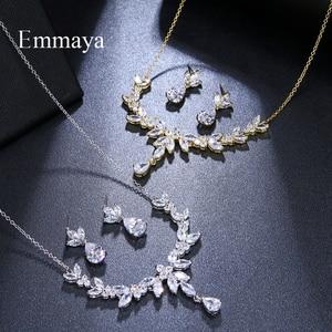 Image 5 - Emmaya accessoires de Costume de mariage en forme de feuilles vives et éblouissantes, ensembles de bijoux boucles doreilles et collier, cristal CZ coloré, cadeau