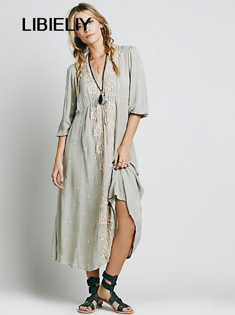 Fashion Summer Fall Women Oversized Hippie Boho People Embroidery Loose Robe Long Dress Female Ethnic Gypsy