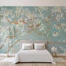 Фото обои 3D Ручная роспись маслом вишневые Цветы Фрески гостиная постельные принадлежности комната Домашний декор Papel де Parede