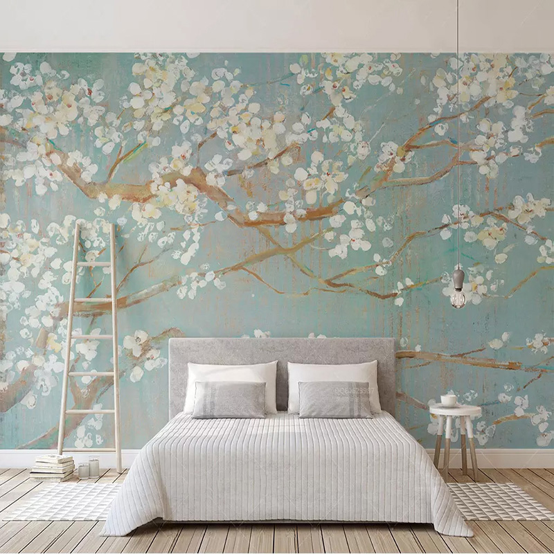 Photo Wallpaper 3D Hand-painted Oil Painting Cherry Blossoms Flowers Murals Living Room Bedding Room Home Decor Papel De Parede