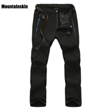 Mountainskin font b Men s b font Winter Softshell Fleece Pants Outdoor Sports Waterproof Skiing Trekking