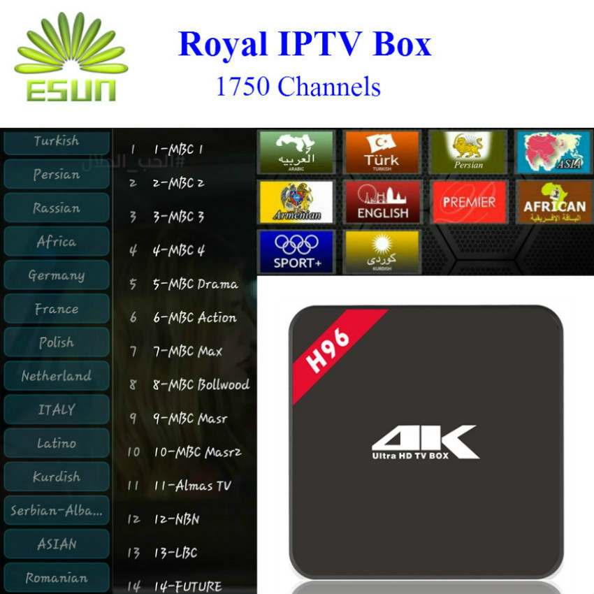 H96 With 1 Year RoyalTV/ESUNTV/LuckyTV Configured Arabic Europe IPTV TV Box S905 media player Android 5.1 Smart tv box kodi gotit cs918 android 4 4 tv box with 1year arabic royal iptv europe africa latino american iptv rk3128 media player smart tv box