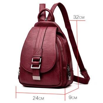 New 2018 Women Leather Backpacks Vintage Shoulder Bag Winter Female Backpack Ladies Travel Backpack Mochila School Bags For Girl